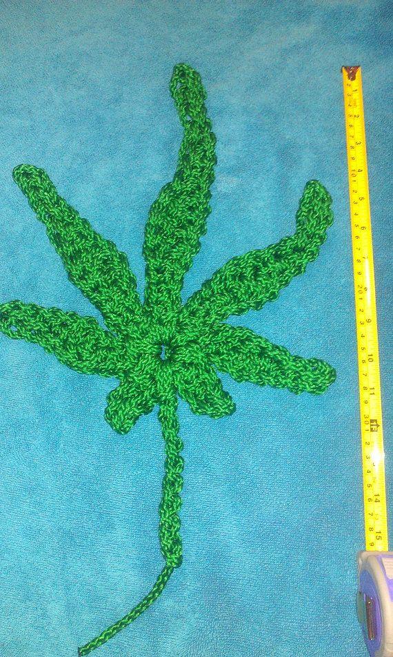 Extra Large Size Crochet Marijuana Pot Leaf By Mjscrochetables
