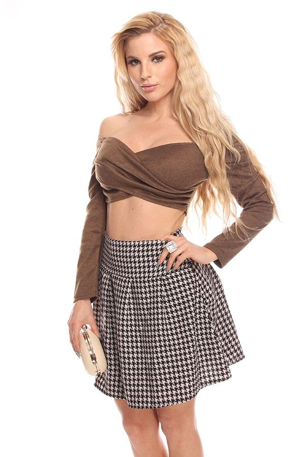 6be11baef030ab 2 piece dress brown crop top off shoulder crop top long sleeve crop top sweetheart  crop top black white skirts plaid skirts pleated skirts sexy mini skirts