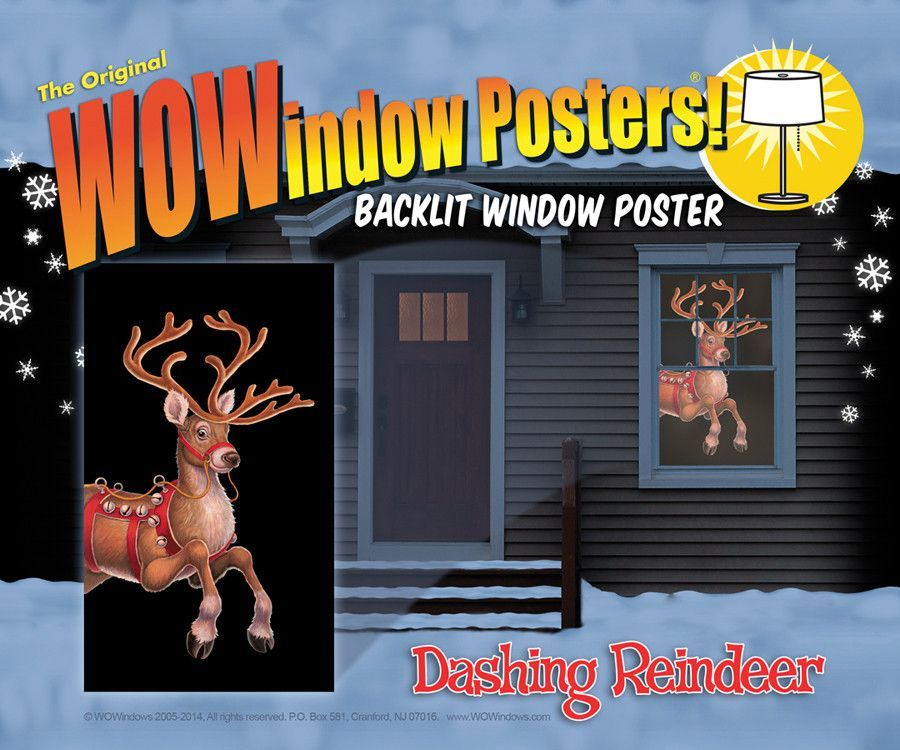 dashing reindeer window Case of 3