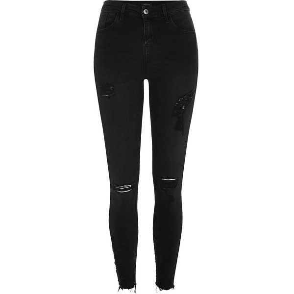 River Island Black washed Amelie super skinny ripped jeans (180 BRL) ❤ liked on Polyvore featuring jeans, pants, bottoms, ripped jeans, denim jeans, destroyed denim jeans, ripped denim jeans and destructed jeans