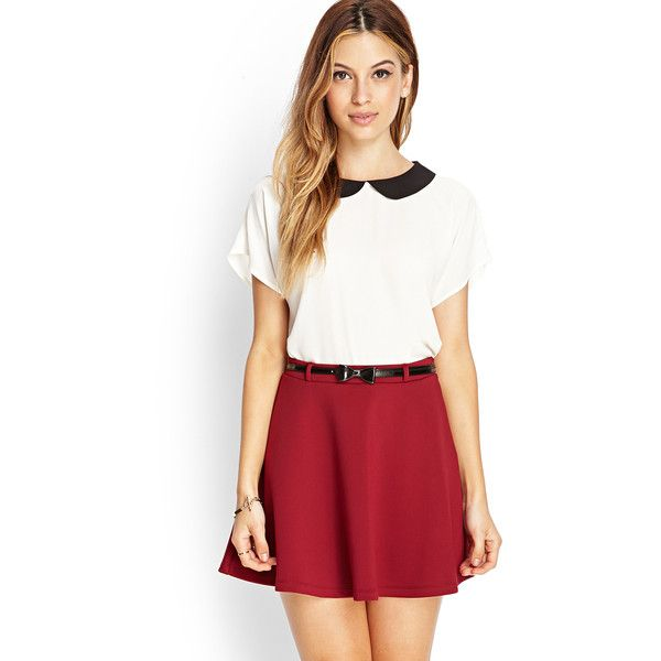 Forever21 Prep School Skater Skirt w/ Belt (205 MXN) ❤ liked on Polyvore featuring skirts, plus size, red skater skirt, red circle skirt, red flared skirt, red skirt and forever 21 skirts