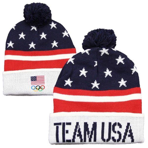 91d4beb0904dc USA Team USA Cuffed Pom Knit - Red White Blue