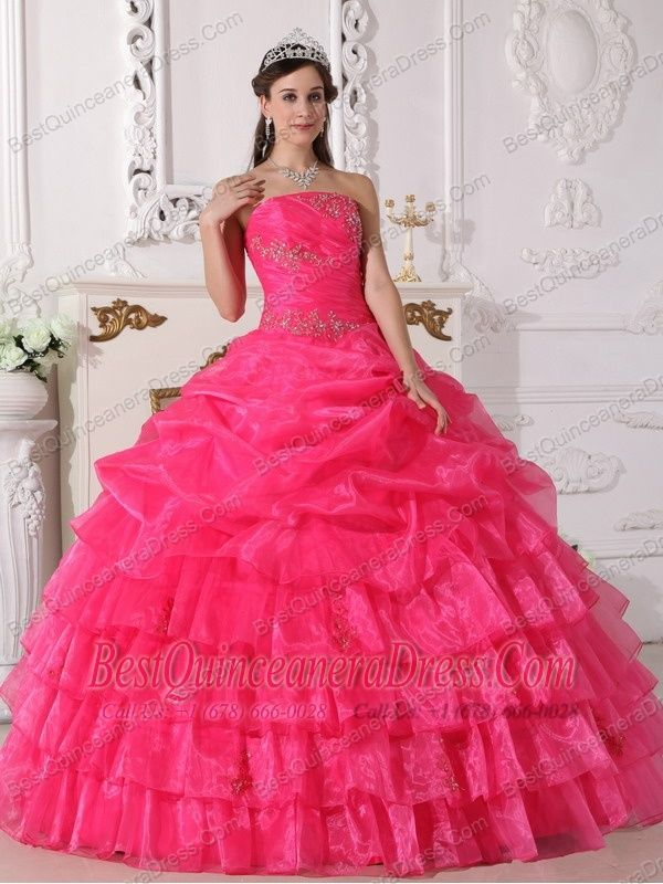 Home :: New Styles Quinceanera Dresses :: Hot Pink Ball Gown ...