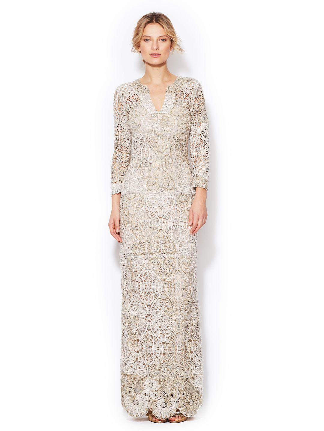 Chenille Knit 3/4 Sleeve Gown by Oscar de la Renta Gowns