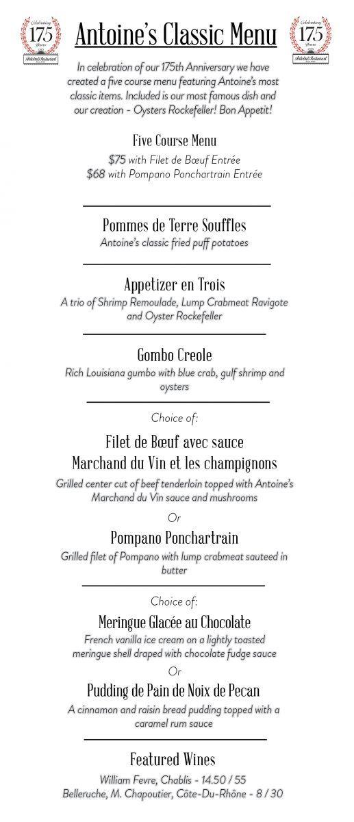 Antoine S Restaurant Classic Menu Menu Restaurant Classic