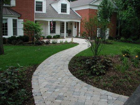 pretty brick paver sidewalk