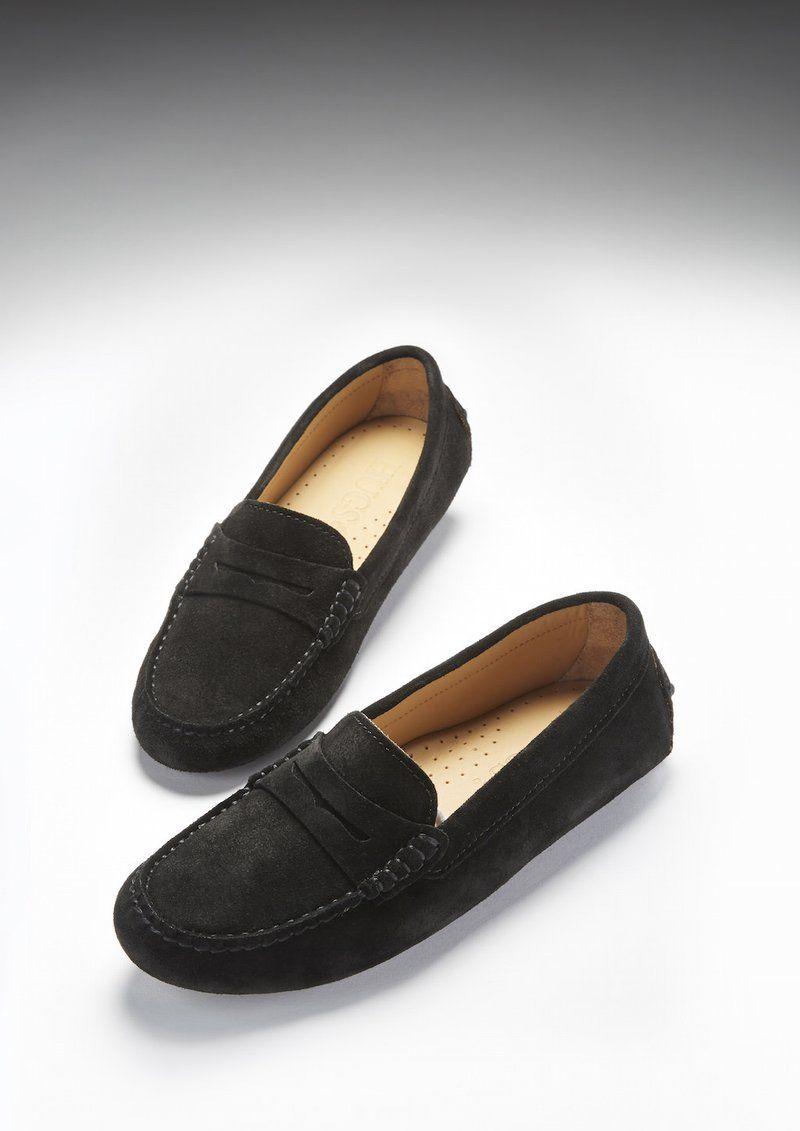 Women S Penny Driving Loafers Black Suede Driving Shoes Women Womens Driving Loafers Loafers For Women [ 1131 x 800 Pixel ]