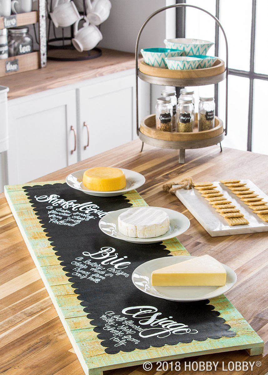 This Custom Snack Tray Is As Easy As Applying Chalkboard Vinyl To A Slatted Wood Sign Chalkboard Vinyl Chalkboard Crafts Diy Crafts