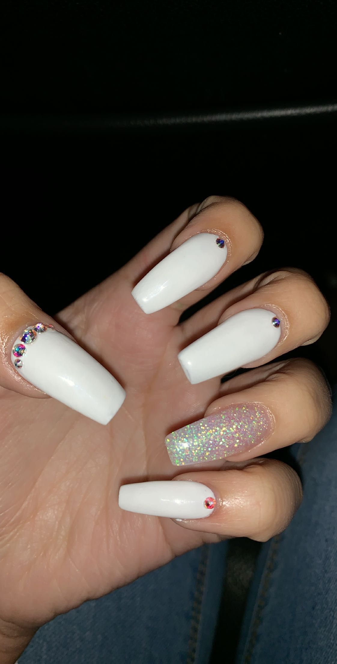 White Coffin Acrylic Nails With Diamonds Rhinestones With
