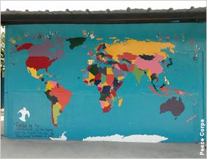 World map painted on building peace corps explore world map world map painted on building peace corps gumiabroncs Images