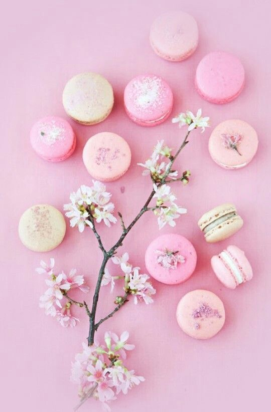 Macaroons and cherry blossoms iphone wallpaper pink - Macaron iphone wallpaper ...