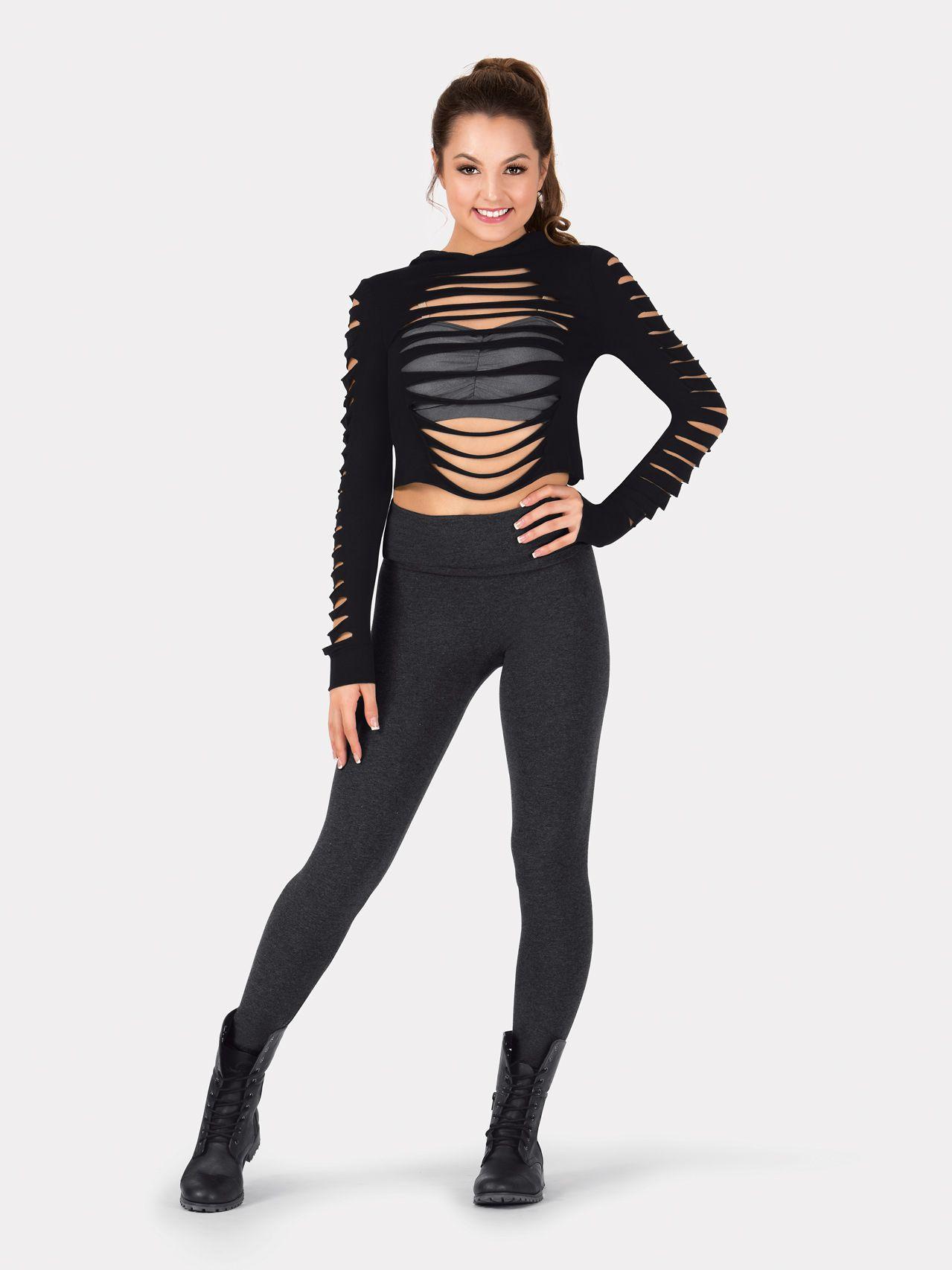 Costumes Adult Sleeve TopDance Tap Long Crop Shredded Y7yvfbg6