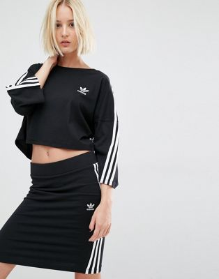 adidas Originals Three Stripe Cropped T Shirt | Coole