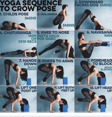 yoga crow pose  easy yoga workouts yoga sequences how