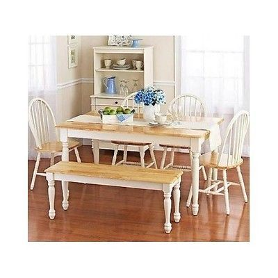 Dining Table Set 6 Piece White Natural Chairs Furniture Buffet Long Bench Home