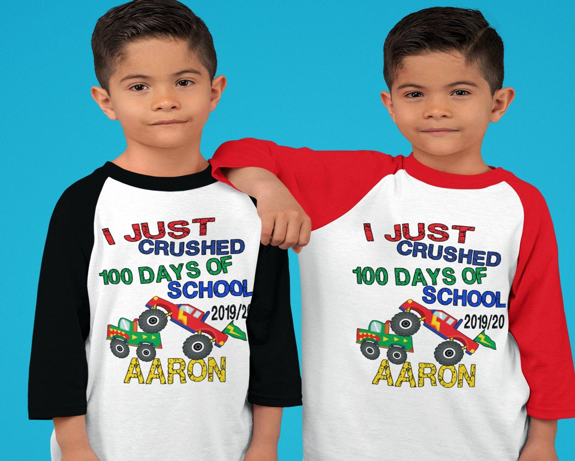 100 days of School Shirt - I just Crushed 100 days of School Raglan - 4x4 monster truck shirt - boys Personalized 100th day of school shirt #100daysofschoolshirt