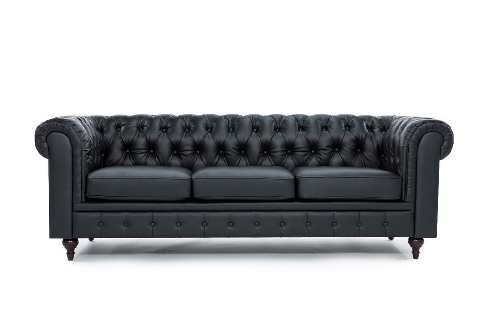 Awesome Chesterfield Modern Tufted Button Black Bonded Leather Sofa Lamtechconsult Wood Chair Design Ideas Lamtechconsultcom