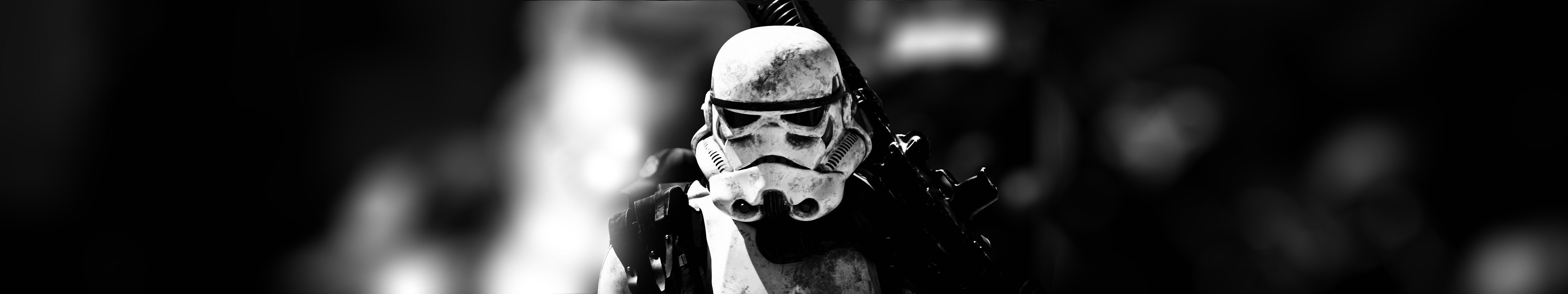 Created My Own Triple Monitor Stormtrooper Wallpaper To Match Black And White Desk Setup 5760x1080