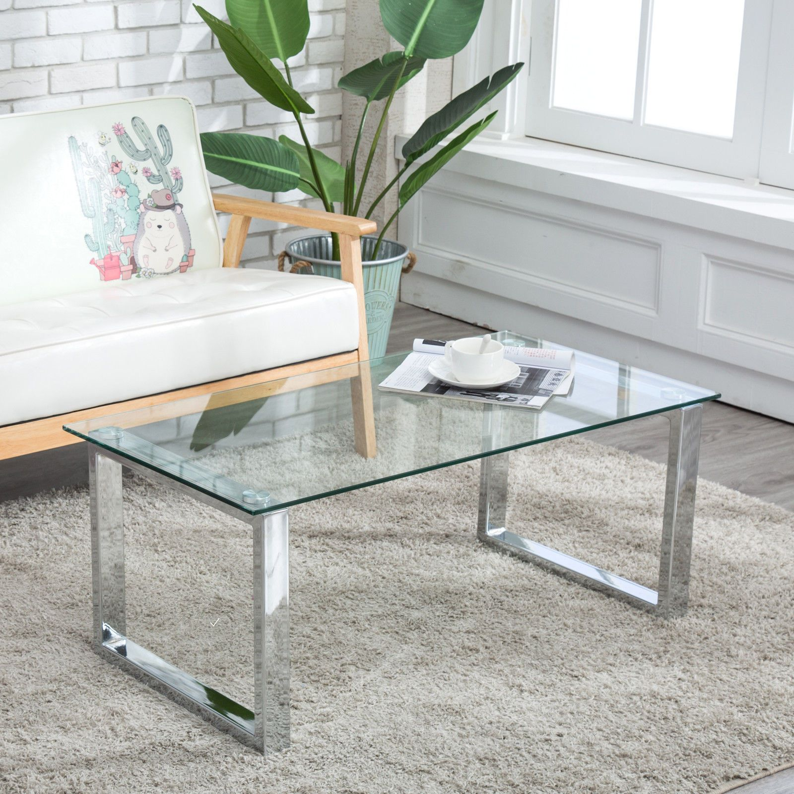 Rectangular Glass Coffee Table Side End Stainless Steel Table Living Room Coffeetable Glass Living Table Glass Table Living Room Stainless Steel Coffee Table