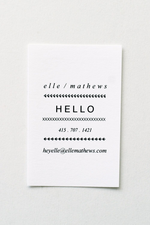 Elle: Letterpress Calling Cards - Set of 50. $75.00, via Etsy ...