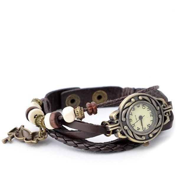 Braided PU Bracelet Watch with Owl Deco ($20) ❤ liked on Polyvore featuring jewelry, watches, braided bracelet, deco watches, owl wrist watch, art deco bracelet and woven chain bracelet