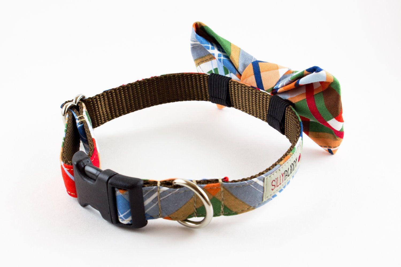 Nautical Patchwork Plaid Dog Bow Tie Collar. 43.00, via