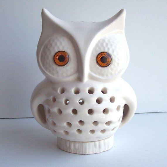 Ceramic Owl Tv Lamp Vintage Design In White Looks Vintage Looks Cristais