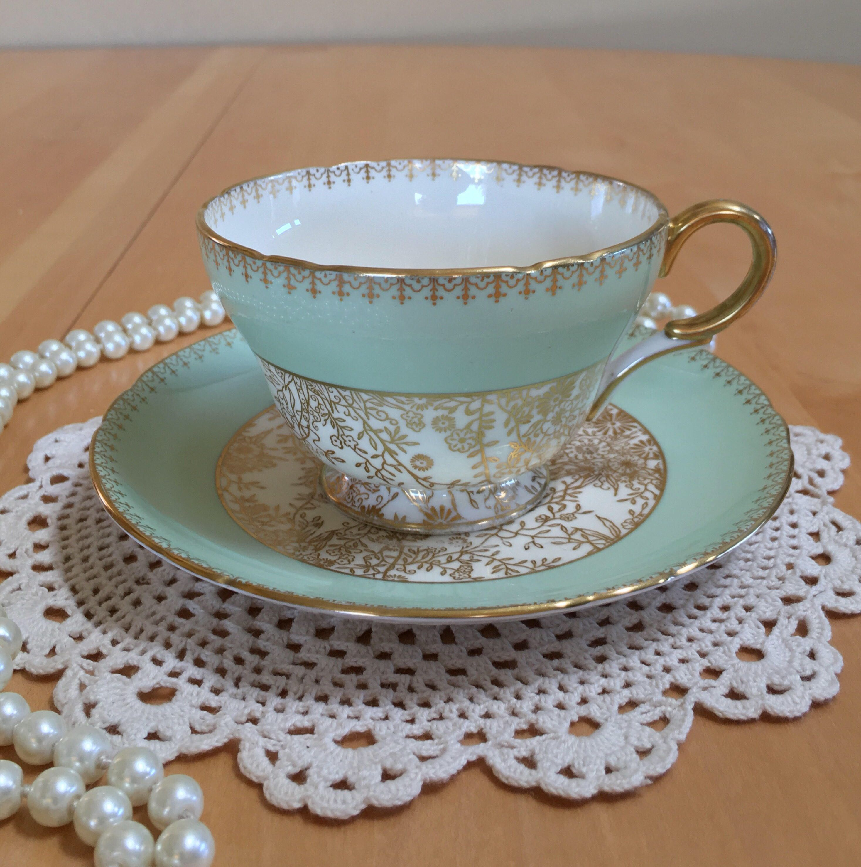 Vintage Shelley Teacup And Saucer Sage Green With Gold Florals