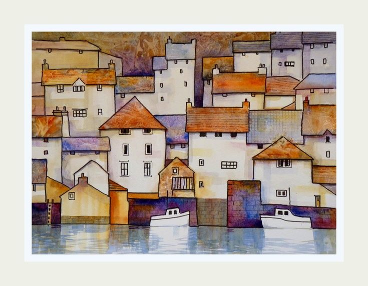 ARTFINDER: Polruan Harbour at high tide by Malcolm Coils - Original painting of Polruan harbour in Cornwall Traditional watercolour using transparent washes and Indian ink. Sold with double mount with ivory outer a...