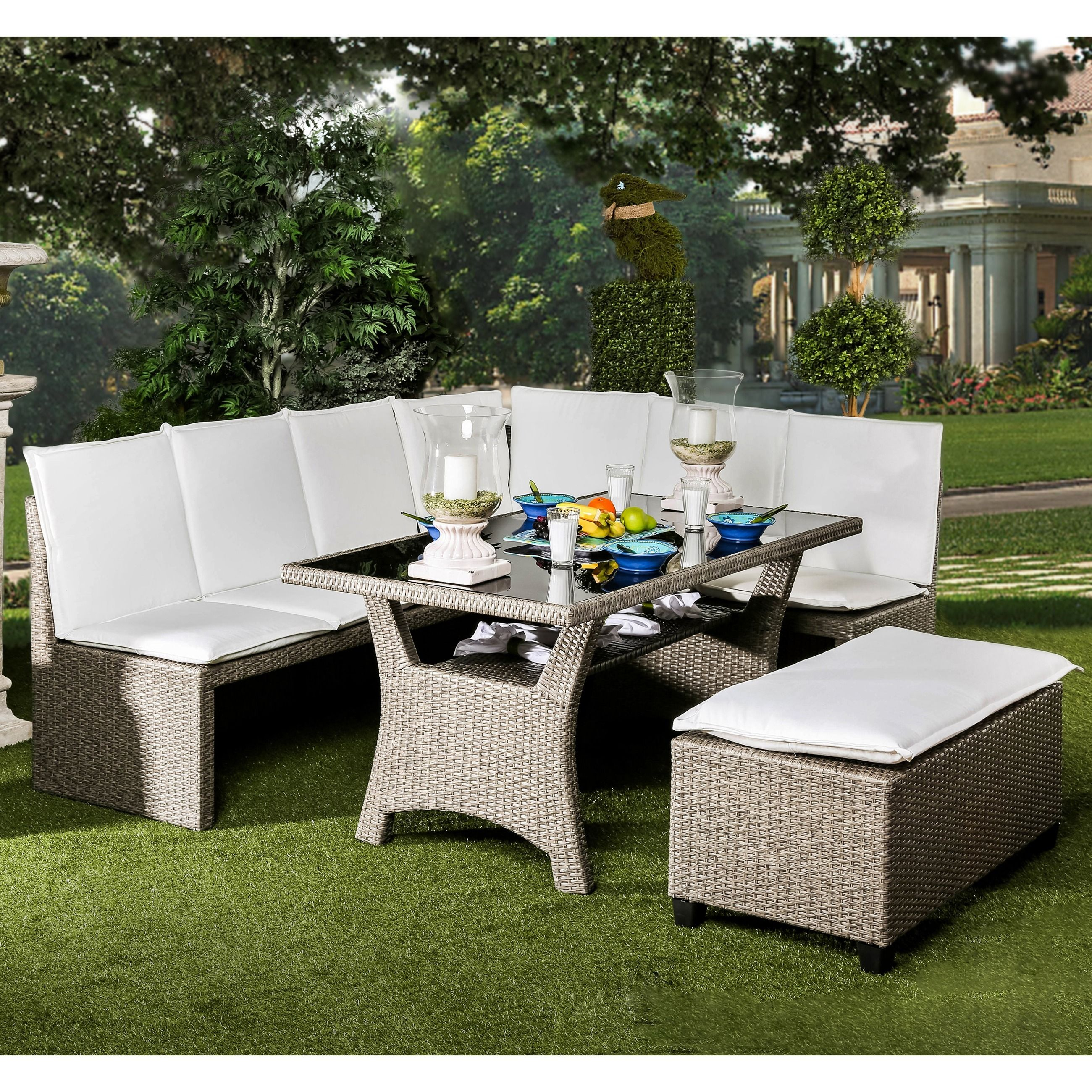 Furniture of America Stelly Grey 3 piece Outdoor Dining Set by
