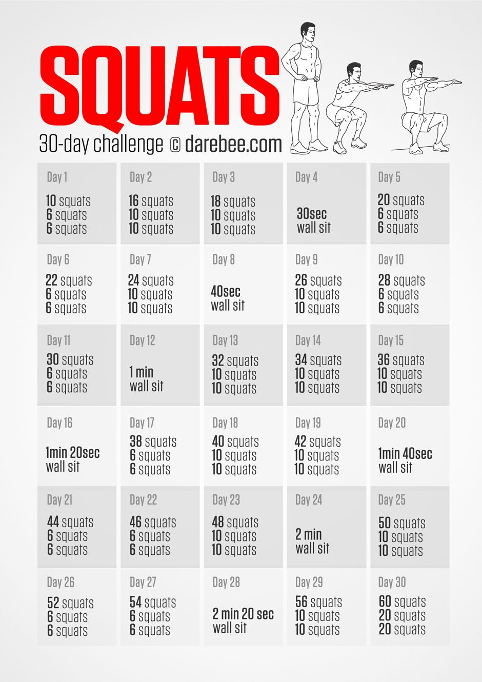 30 Day Squat A Challenge Download High Resolution Pdf