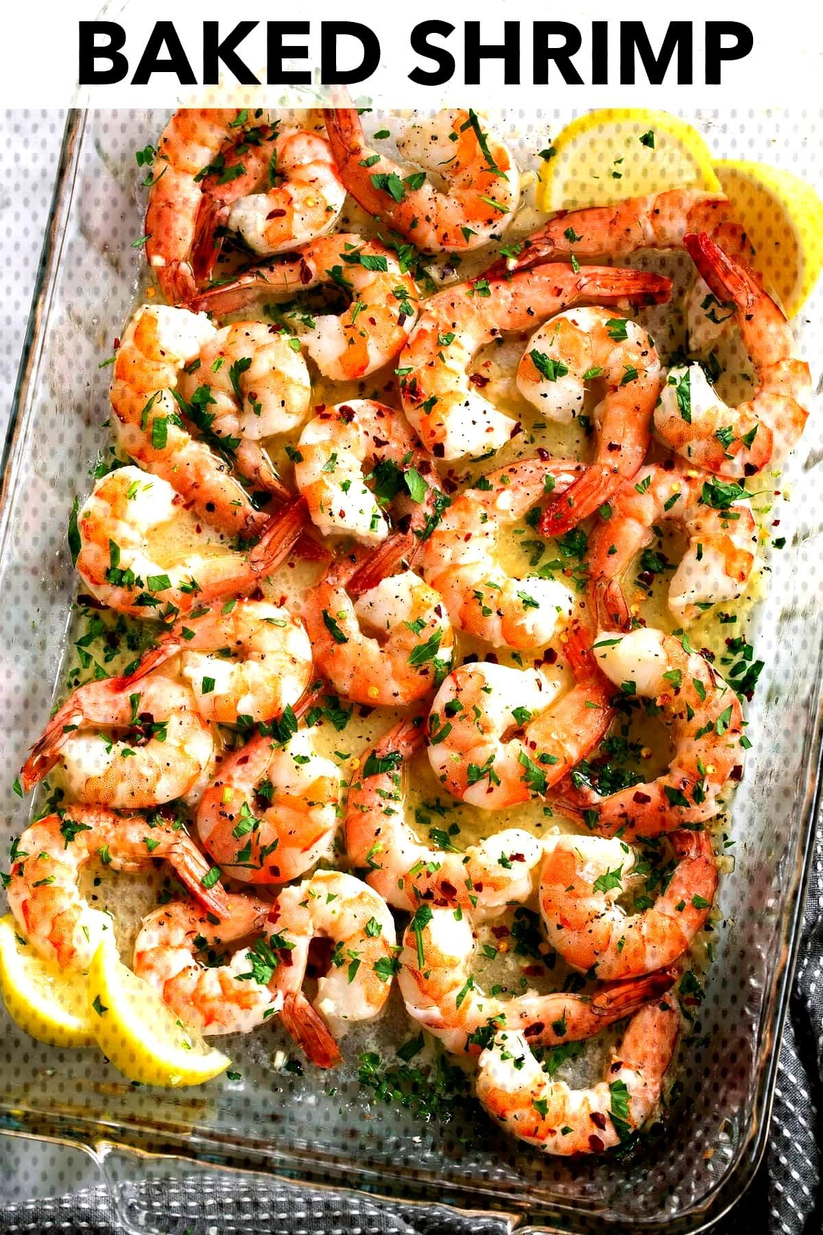 Baked Shrimp with a simple Garlic Lemon Butter Sauce - this recipe couldnt get any easier and you