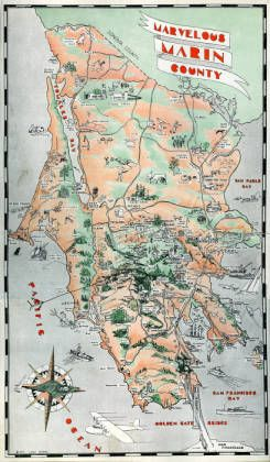 Map Promoting The Unique Features Of Marin County Issued By