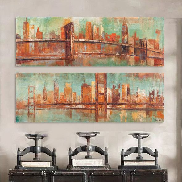 Cheap prints painting buy quality art posters and prints directly from china canvas art poster suppliers brooklyn bridge new york landscape abstract
