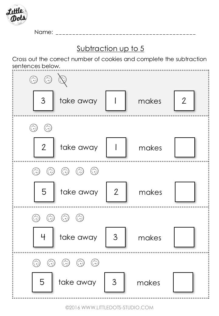 Free subtraction worksheet for kindergarten and grade 1 level ...