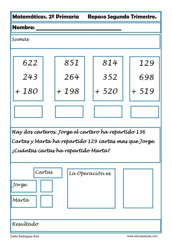 Ejercicios de matemáticas para segundo de primaria | Math ...
