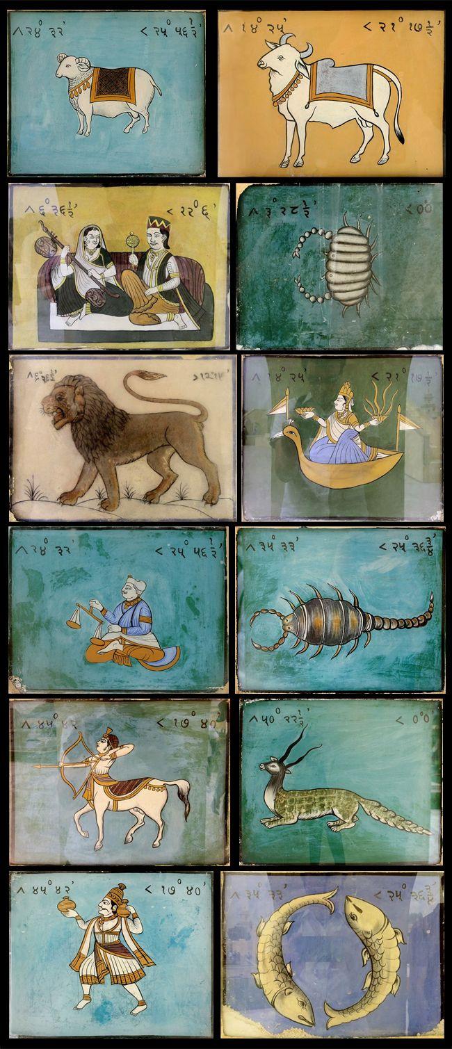 Zodiac miniature paintings at Jaipur Jantar Mantar