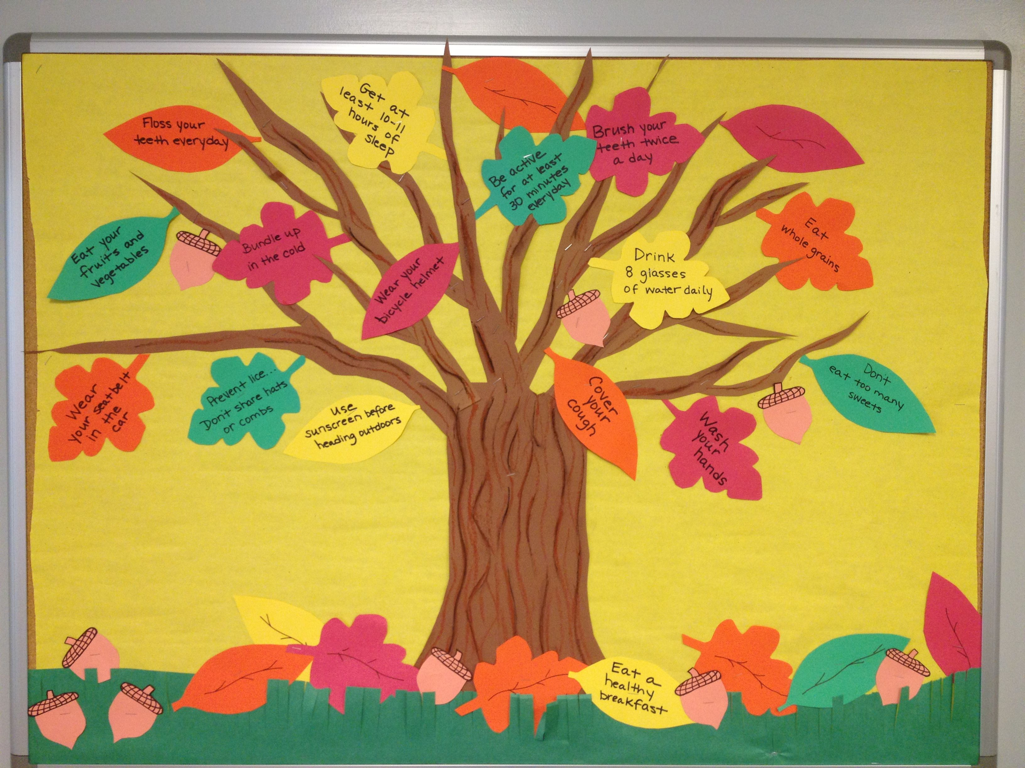 Go green vegetable bulletin board idea myclassroomideas com - Fall Into Healthy Habits School Bulletin Board