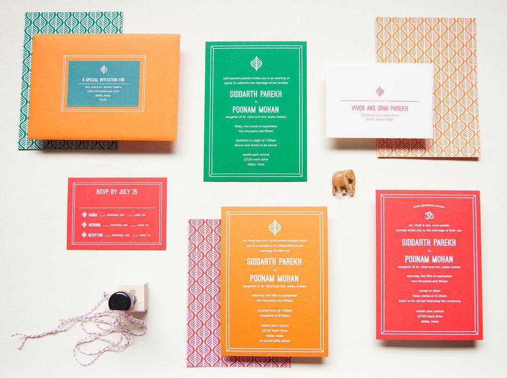 Spring into Love - modern Indian wedding invitations - block print ...
