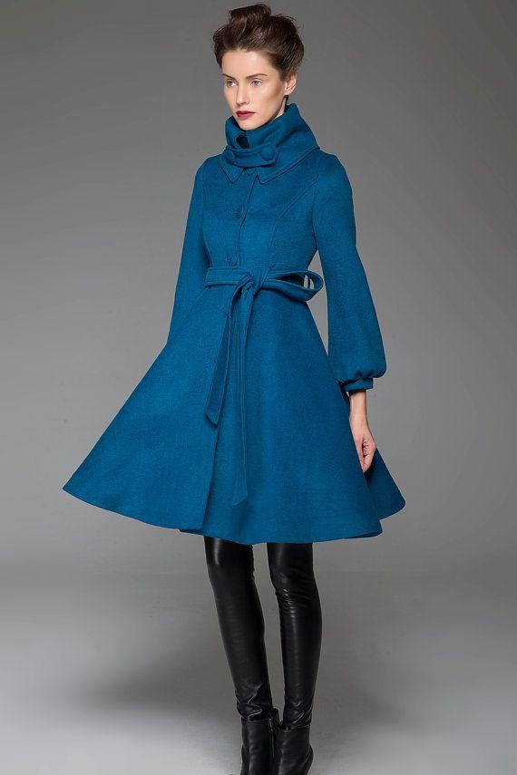 Turquoise Swing Jacket - Handmade Warm Stylish Blue Winter Coat with Shawl  Collar Women s Outerwear (1425) 464ce014a73ba