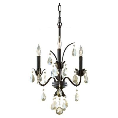 Feiss charlene 3 light liberty bronze chandelier