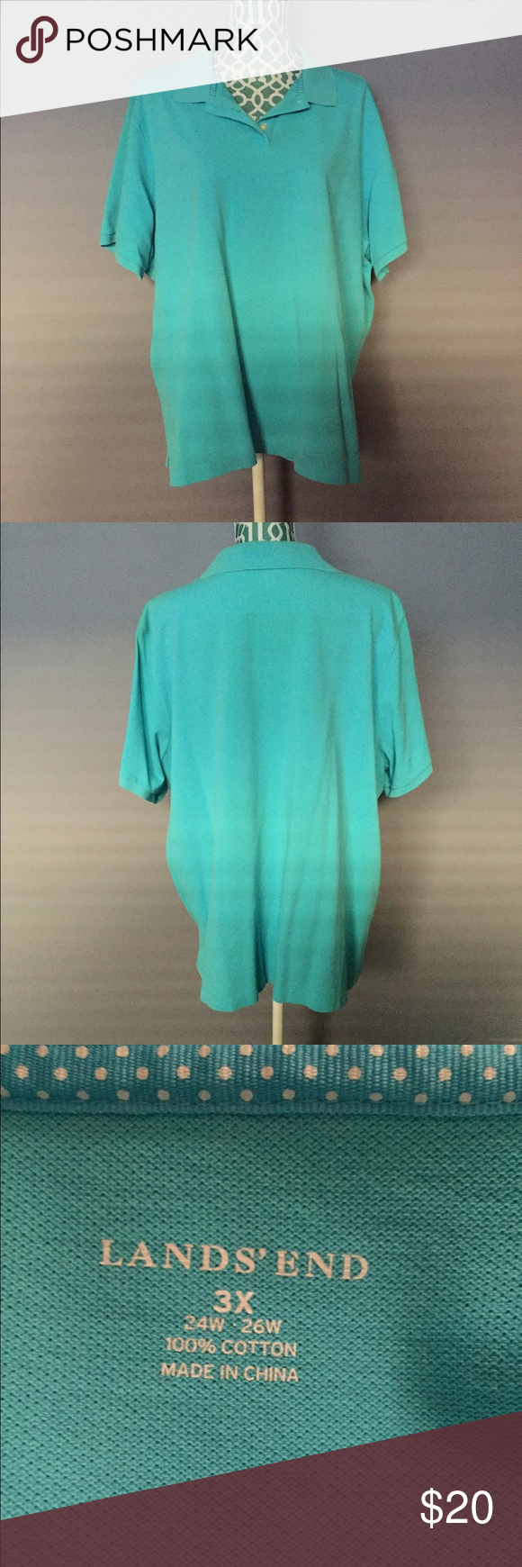 Lands' End Bright Turquoise Polo Shirt -Excellent condition  -Bright & vibrant turquoise color -Perfect for work -If you like this one, I have a pink and light coral one exactly like it!!  -Shoulder to hem: 27 inches -Bust: 56 inches -No trades, pp or lowballs, but feel free to make a reasonable offer! Lands' End Tops