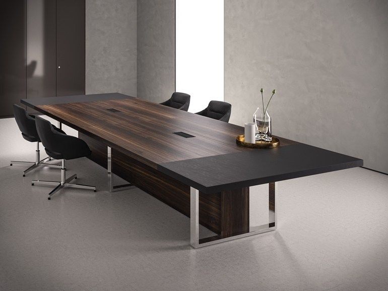 Awesome Rectangular Wooden Meeting Table With Cable Management Board Home Remodeling Inspirations Genioncuboardxyz