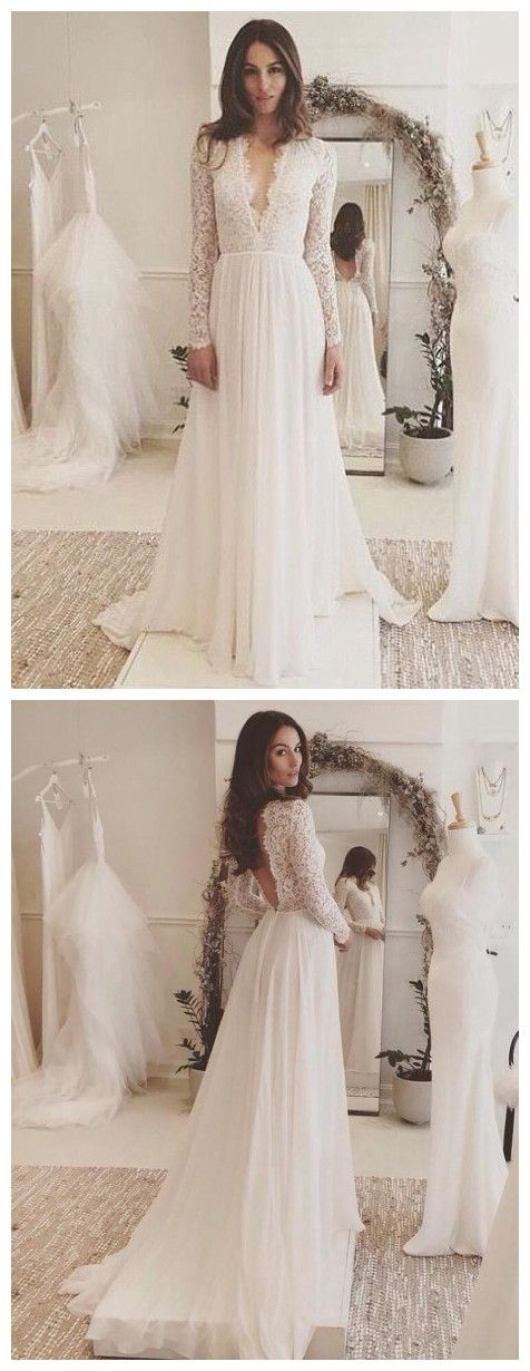 1b5155721be Chic A-line Wedding Dresses Long Sleeve V neck Romantic Wedding ...