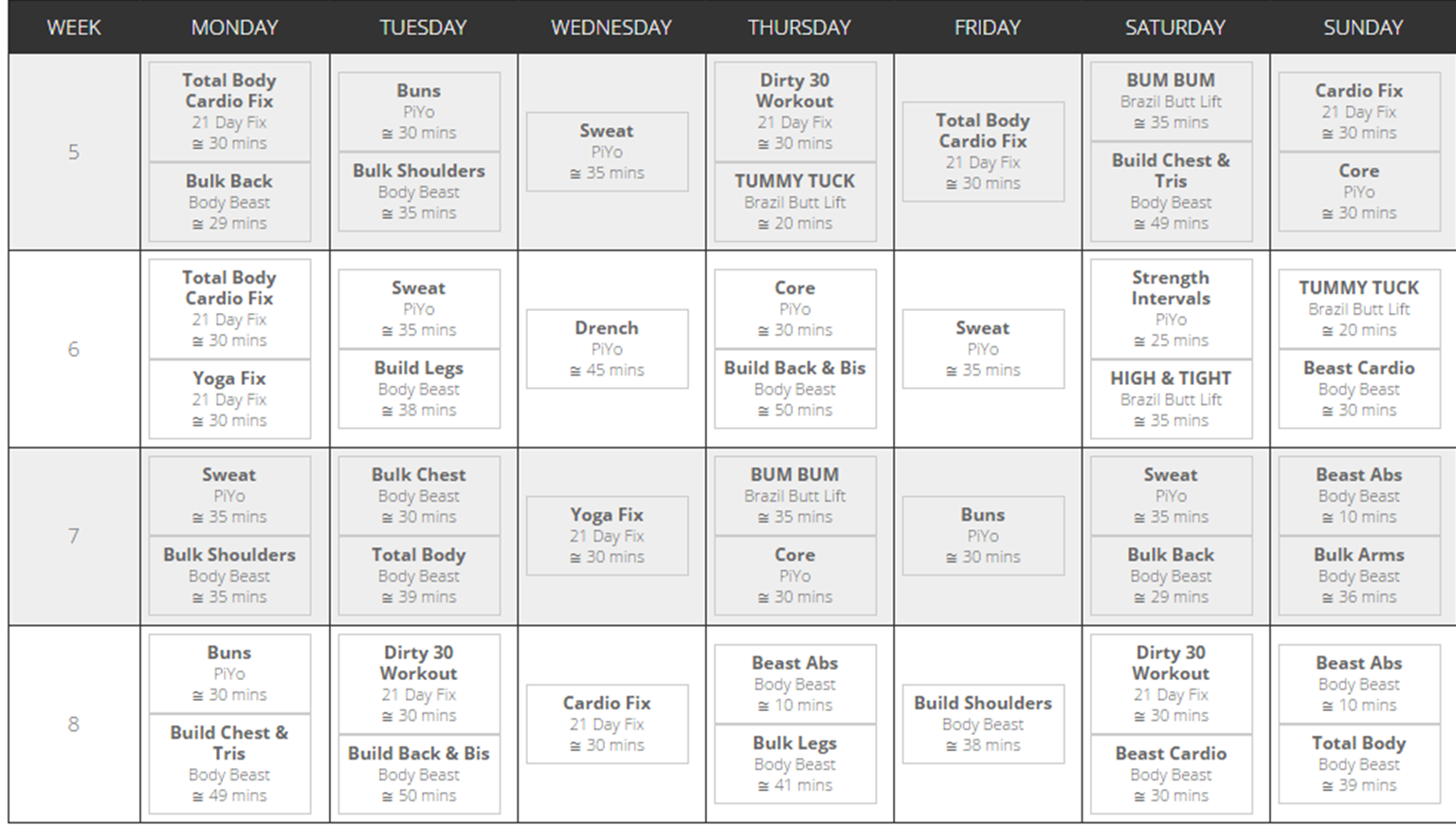 21 Day Fix Beachbody Calendar For More Customized