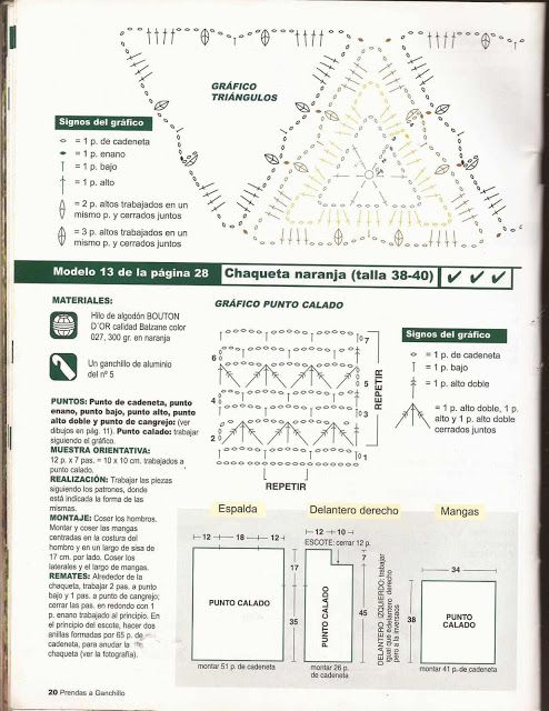 Patrón #10: Blusa con Triángulos a Crochet | CTejidas [Crochet y Dos Agujas]