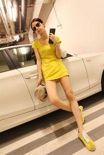 Slim round collar yellow dress - US$ 16.22