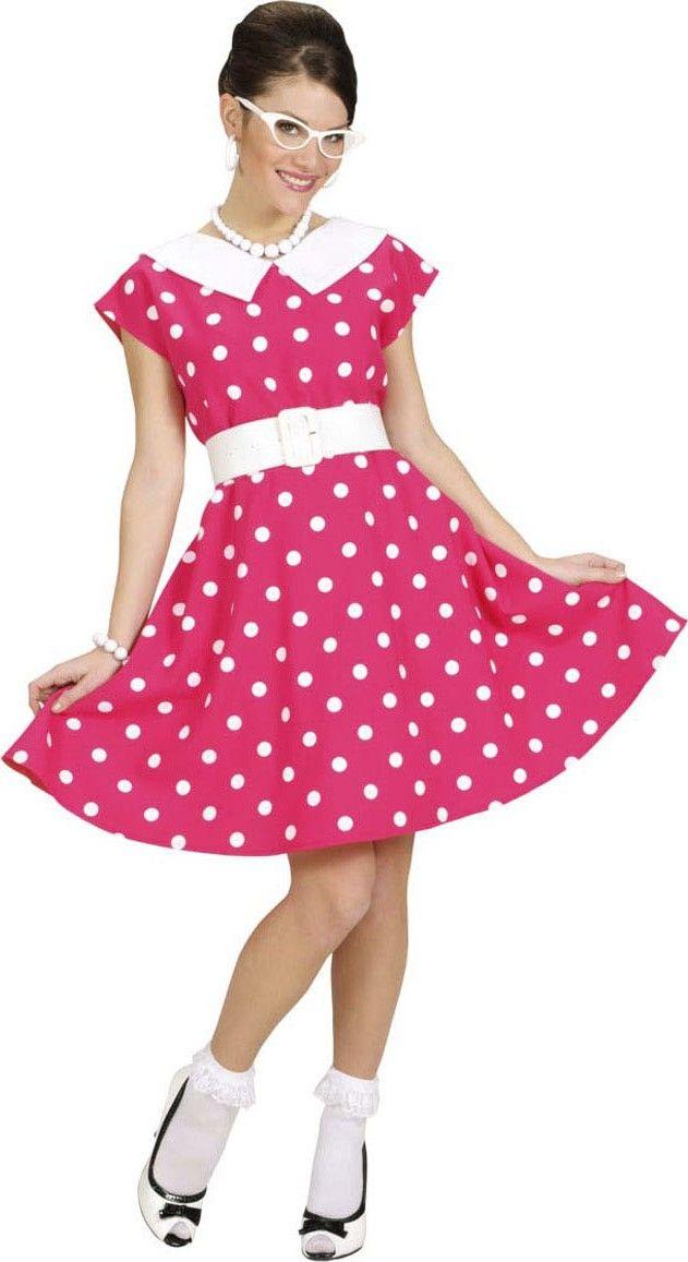 Disfraz rosa con lunares años 50 mujer  Este disfraz de los años 50 incluye  un 3e84f238f27