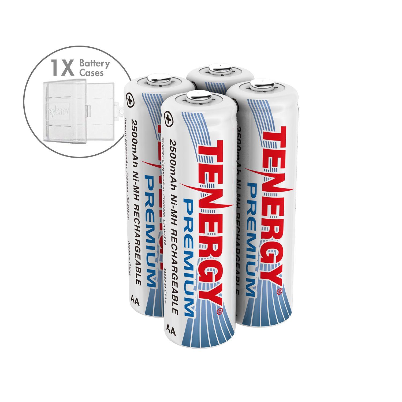 Combo 4 Pcs Tenergy Premium Aa 2500mah Nimh Rechargeable Batteries 1 Aa Size Holder Nimh Rechargeable Batteries Recharge