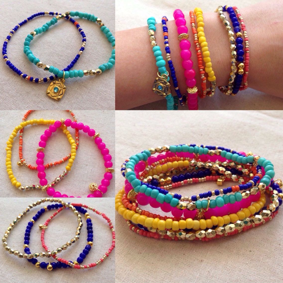 Get these beautiful and bright bracelets for an affordable price! The eight bracelets are strung on stretch cord with hot pink, royal blue, turquoise, yellow, orange and coral glass seed beads. Each bracelet is accented with a small charm.
